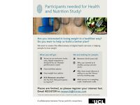 Participants for health and nutrition study - FREE weight loss advice, £10 gift voucher