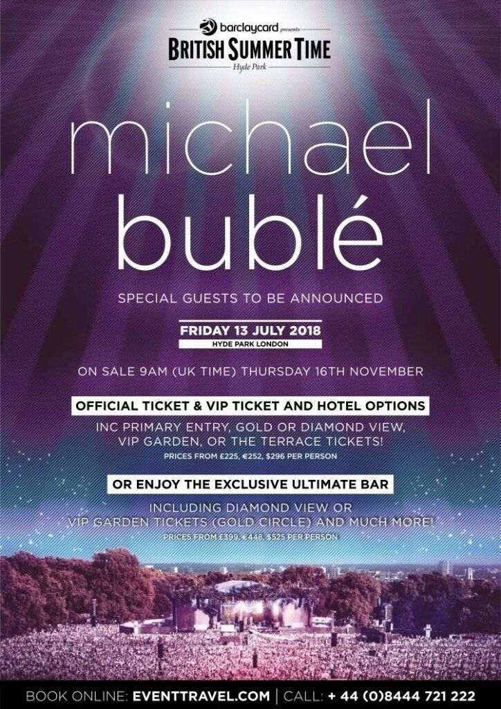 2 tickets to michael buble in hyde park 13 th july cant go 2 tickets to michael buble in hyde park 13 th july cant go anymore and willing to sell cheap m4hsunfo