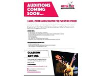 Three and Four Piece Bands Wanted for Function Work - Glasgow