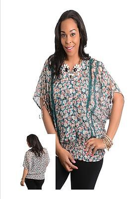 Plus Size Clearance (Plus Size Women Clearance Blouse Sheer Dolman Top Shirt Casual Relaxed)