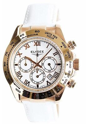 New Elysee 13232 Cologne 40mm Chronograph White Leather Strap Watch