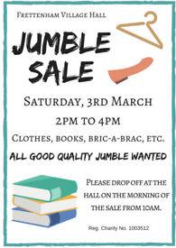 Jumble Sale! 3rd March 2-4pm