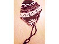 Ladies' Brown Hippy Flake Ski Winter Tassle Sherpa Style Beanie Hat
