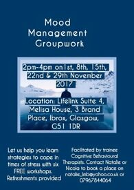 Free Mood Management Course - 5 sessions 2pm-4pm on Wednesday 1st, 8th, 15, 22nd, 29th November.