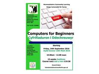 Computers for Beginners starting at Monmouth Community Hub this September 2016