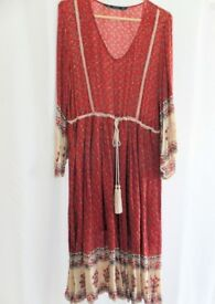 New ZARA Red Boho Midi Print Dress - Size Large