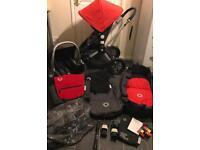 bugaboo cameleon travel system pram pushchair 3in1 stroller car seat changing bag red black buggy