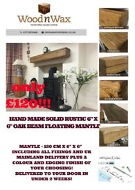 HAND CRAFTED SOLID RUSTIC OAK BEAM FIRE SURROUNDS & FLOATING MANTLES
