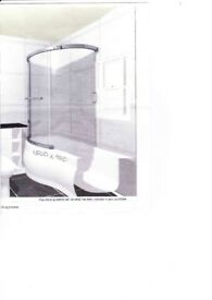 Deep white Bath, electric shower + curved shower screen.