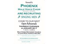 Free Open Rehearsals for Singing Men with a Male Voice Choir - Without Obligation or Auditions