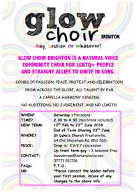 GLOW Choir Brighton! Natural Voice Community Choir for LGBTQ+ People and Allies! All Voices Welcome.