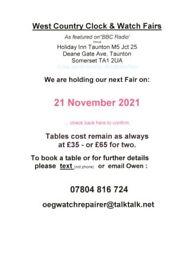 West Country Clock & Watch Fairs Sunday 21st November Holiday Inn Taunton M5 Jct 25 Somerset TA1 2UA