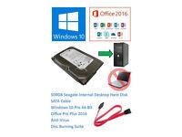 500GB Seagate Internal 3.5 Inch Desktop SATA Hard Drive With Windows 10 & Office 2016