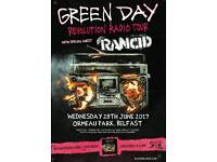 2 Green Day Tickets, Ormeau Park, Belfast