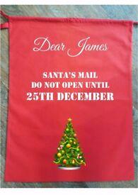 CHRISTMAS SACK PERSONALISED Stocking Hessian Bag Gift Present Kids Dear