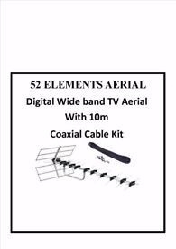AERIAL 52 Elements Digital Wide band TV Aerial With 10m Cable Kit sky free sat TV WALL BRACKET NEW
