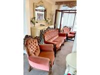 French style 3 piece suite . 3 seater sofa & armchairs