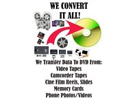 VHS, Camcorder Tapes, Videos To DVD Transfer Service