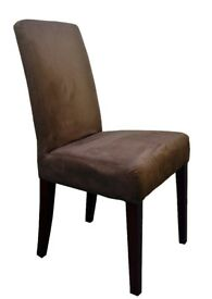Elegant quality faux suede Mocca Dining Chairs 6 pieces