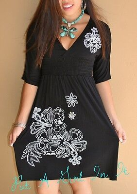 - PLUS SIZE LITTLE BLACK FLOWER FLORAL BABYDOLL BOHO CINCH MINI DRESS 1X 2X 3X