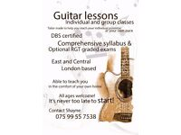 Guitar lessons for all ages, DBS certified, teach you at home, music, electric, acoustic
