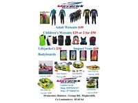Wetsuit, wakeboards, outboards, trailers, boats, sup, sale now on