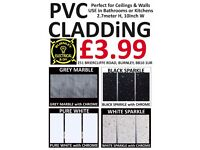 Pack of 5 PVC Panels Cladding for Bathroom or Kitchen Ceiling or Walls