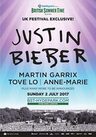 2 Justin Bieber tickets premium view at BST Hyde Park 2nd of July