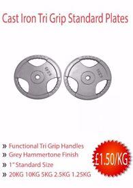 Brand New Standard Weight Plates £1.50/kg! *20KG - 1.25KG* (weights gym)