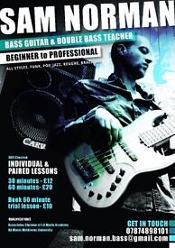 Bass Guitar and Double Bass Tuition