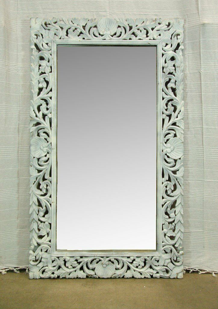 Beautiful Afghan wooden hand carved Antique white mirror