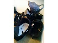Graco Evo travel system in black. Carrycot, buggy and car seat plus extras.