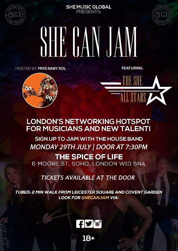 She Can Jam Jam Sesssion & Networking Event | in West End