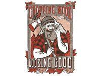 Alex T Frazer Chopping Wood Illustration