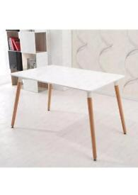 Eames Eiffel Dining Table DSW Retro Rectangle Wood Legs MDF High Gross Top White