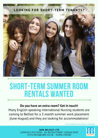 Looking for summer room rentals in Greater Belfast for international healthcare students