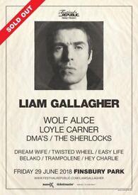 2 x Liam Gallagher tickets at Finsbury Parl