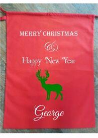 CHRISTMAS SACK PERSONALISED Stocking Hessian Bag Gift Present Kids Happy New Year