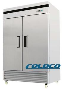 "COLDCO NEW 2-DOOR 54.5"" STAINLESS STEEL 2-DOOR FREEZER"
