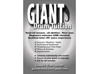 Drum Tuition - £20 for 90mins, qualified teacher, CRB checked.