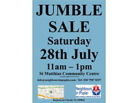 Giant Jumble Sale Saturday 28th July 11am - 1pm Poplar E14