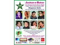 JASHAN E BAHAR 23rd March Live Singing and Dinner Night at ELEGANCE SUITE NECHELLES BIRMINGHAM B74PT