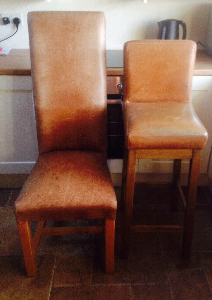 Indigo furniture leather high dining chairs 4 x