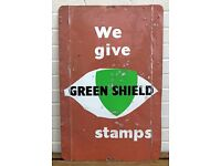 VINTAGE -WE GIVE GREEN SHIELD STAMPS- TIN METAL SHOP DISPLAY ADVERTISING SIGN not ENAMEL