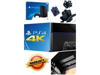 Sony Playstation 4 PRO 4K 1,5y warranty. 5 games charging station