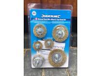 Silverline 6 Piece Brassed Steel Wire Wheel & Cup Brush set