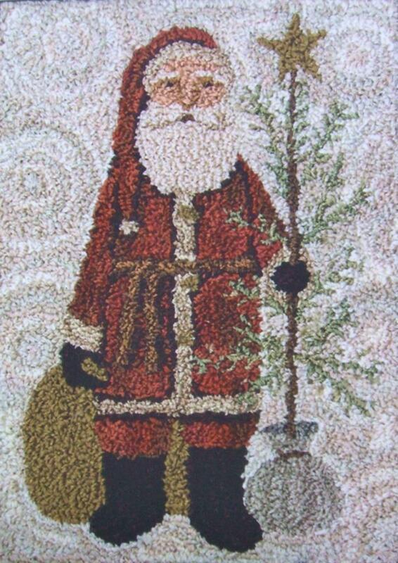 Country Santa PN101 Christmas Punchneedle Punch Needle Teresa Kogut Pattern