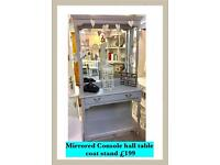 Quality painted hall stand / console table with mirror and coat hooks