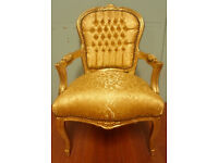 Gold floral damask antique french armchair
