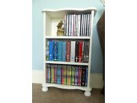 Tiny White Wooden Sturdy Bookcase with Two Shelves lots of detail Ideal for DVDs